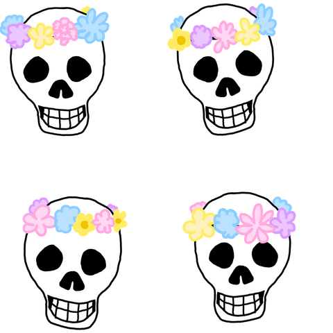 4 skulls with flower crowns